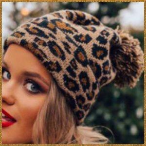 Leopard print beanie hat